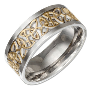 Stainless Steel Band with Gold Color Celtic Trinity Knot Insert