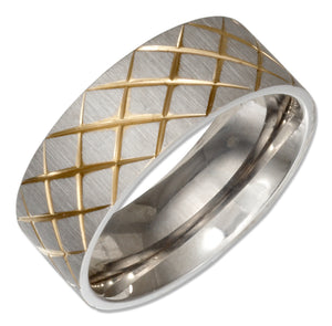 Stainless Steel Band Ring with Gold Color Crosshatch Pattern