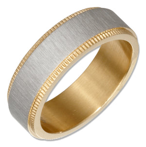 Stainless Steel and Gold Color Coin Edge Band Ring