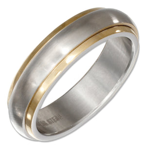 Stainless Steel and Gold Color Spinner Band Ring