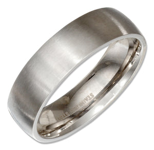Stainless Steel Brushed 6mm Wedding Band Ring