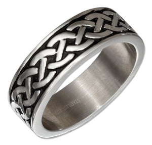 Stainless Steel Celtic Knot Weave Wedding Band Ring
