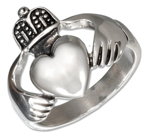 Stainless Steel Large Irish Claddagh Ring