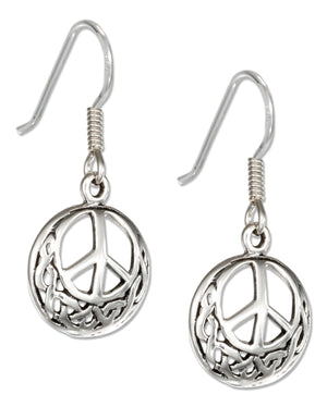 Sterling Silver Round Celtic Peace Sign Earrings