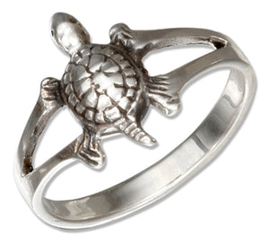 Sterling Silver Antiqued Turtle Ring with Split Shank
