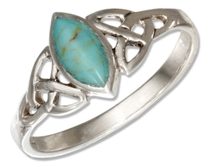 Sterling Silver Marquise Simulated Turquoise Ring with Celtic Trinity Knots