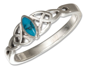 Sterling Silver Small Marquise Simulated Turquoise Ring with Celtic Trinity Knots