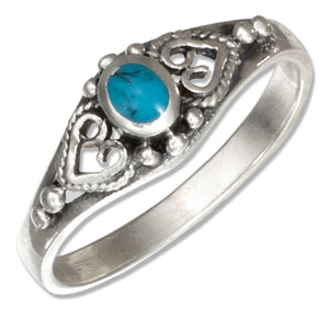 Sterling Silver Bali Style Oval Simulated Turquoise Ring