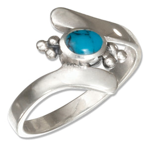 Sterling Silver Bali Inspired Simulated Turquoise Bypass Ring