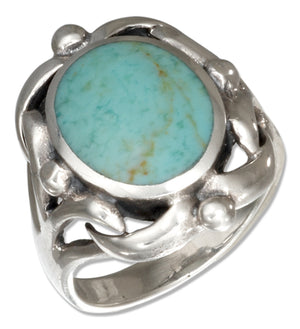 Sterling Silver Oval Simulated Turquoise Ring with Scrolled Frame