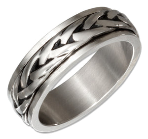 Stainless Steel Braided Spinner Band Ring
