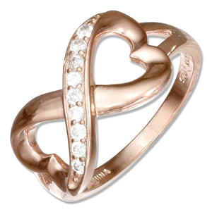 Sterling Silver Rose Colored Heart Infinity Knot Ring with Cubic Zirconias