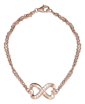 Sterling Silver 7 inch Rose Colored Heart Infinity Knot Cubic Zirconia Bracelet