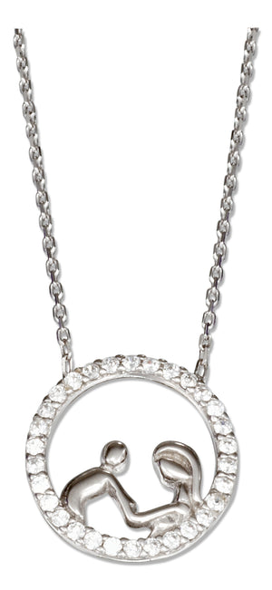 Sterling Silver 16 inch to 18 inch Adjustable Pave Cubic Zirconia Circle with Parent and Child Necklace