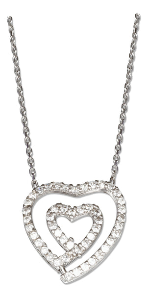 Sterling Silver 16 inch to 18 inch Adjustable Pave Cubic Zirconia Double Open Heart Necklace