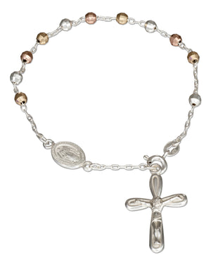 Sterling Silver 7.5 inch Tri-color Rosary Bracelet