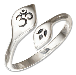 Sterling Silver Adjustable Om or Ohm Symbol and Lotus Flower Bypass Ring