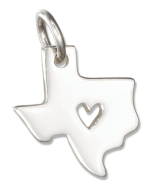 Sterling Silver Silhouette Texas State Charm with Heart Cut Out