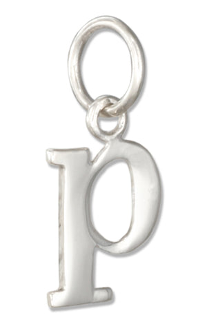 "Sterling Silver Lower Case Letter ""P"" Initial Charm"