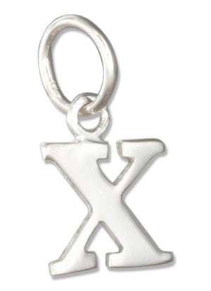 "Sterling Silver Lower Case Letter ""X"" Initial Charm"