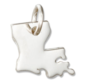 Sterling Silver Louisiana State Silhouette Charm
