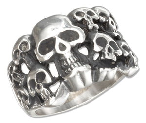 Stainless Steel Group Of Skulls Ring
