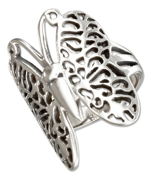 Stainless Steel Filigree Butterfly Ring