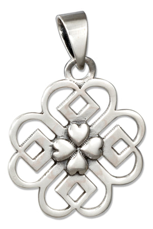 Sterling Silver Celtic Knot Shamrock Pendant with Shamrock Center