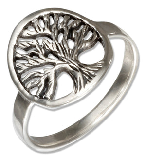 Sterling Silver Round Filigree Tree Of Life Ring