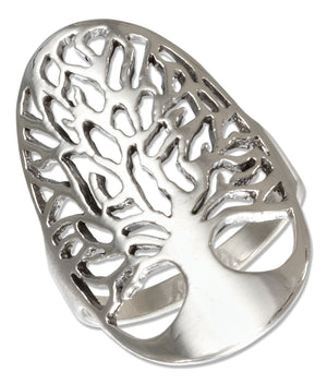 Sterling Silver Filigree Oval Tree Of Life Ring