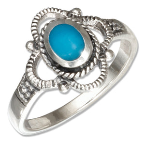 Sterling Silver Oval Simulated Turquoise Ring with Scalloped Border