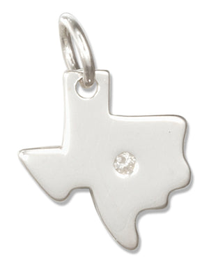 Sterling Silver Texas State Silhouette Charm with Stone Chip