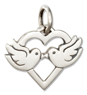 Sterling Silver Heart with Lovebirds Charm