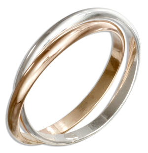 Sterling Silver and 12 Karat Gold Filled Two Band Slide Ring