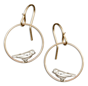 Sterling Silver and 12 Karat Gold Filled Dangling Circle with Bird Earrings