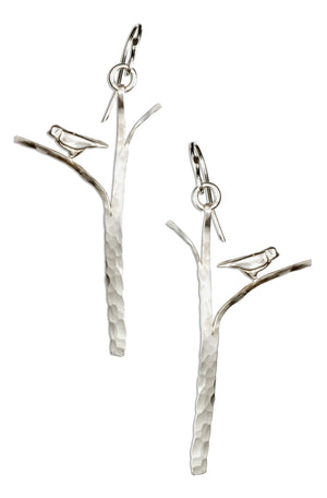 Sterling Silver Hammered Tree with Bird Earrings