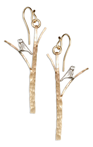 Sterling Silver and 12 Karat Gold Filled Hammered Tree with Bird Earrings