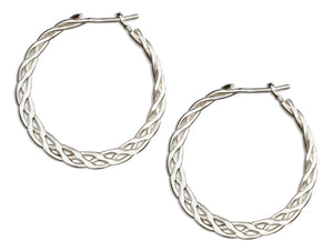 Sterling Silver 24mm Flat Celtic Weave Hoop Earrings