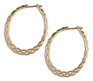 12 Karat Gold Filled 24mm Flat Celtic Weave Hoop Earrings