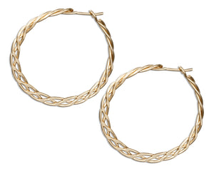 12 Karat Gold Filled 30mm Flat Celtic Weave Hoop Earrings