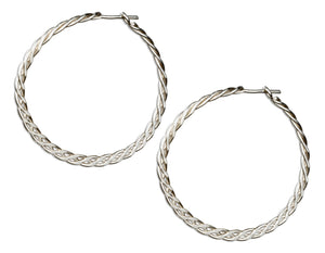 Sterling Silver 37mm Flat Celtic Weave Hoop Earrings