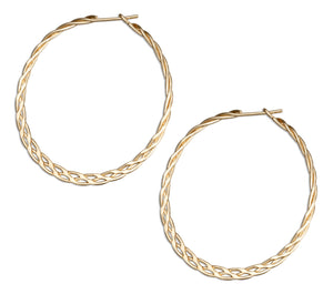 12 Karat Gold Filled 37mm Flat Celtic Weave Hoop Earrings