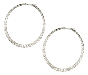 Sterling Silver 44mm Flat Celtic Weave Hoop Earrings