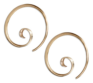 12 Karat Gold Filled 24mm Curly Spiral Threader Wire Hoop Earrings