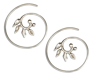 Sterling Silver 24mm Wire Spiral Threader Hoop Earrings with Leaves