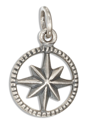 Sterling Silver Compass Star Charm
