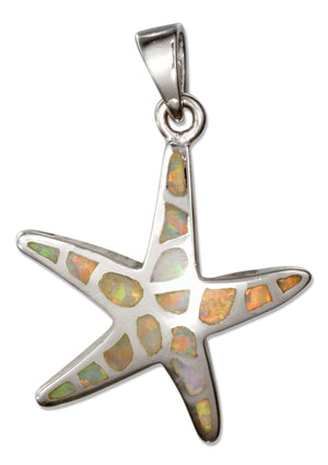 Sterling Silver Synthetic White Opal Starfish Pendant