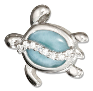 Sterling Silver Cubic Zirconia and Larimar Turtle Pendant