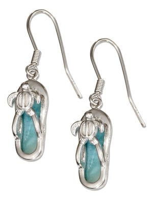 Sterling Silver Larimar Flip Flop Earrings with Turtle