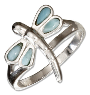 Sterling Silver Larimar Dragonfly Ring